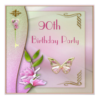 Glamorous Key, Magnolia & Butterfly 90th Birthday 13 Cm X 13 Cm Square Invitation Card