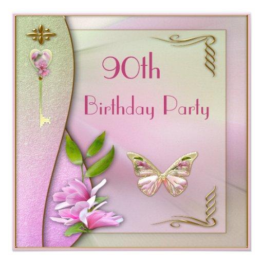 Glamorous Key, Magnolia & Butterfly 90th Birthday Invites