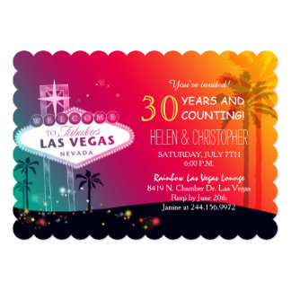 Glamorous Las Vegas Wedding Anniversary Party Card