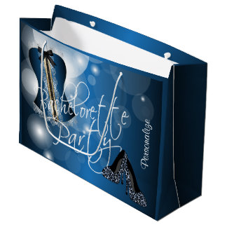 Glamorous Lingerie Bachelorette | Blue Bokeh Large Gift Bag