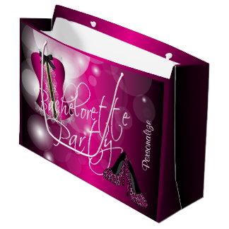 Glamorous Lingerie Bachelorette |Hot Pink Bokeh Large Gift Bag