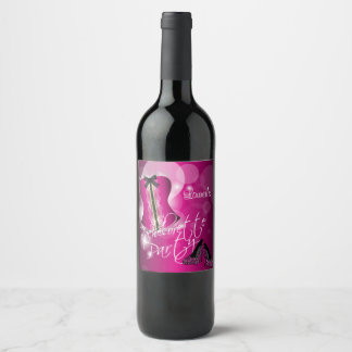 Glamorous Lingerie Bachelorette Party  | Hot Pink Wine Label