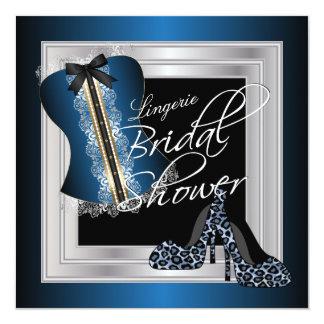 Glamorous Lingerie Bridal Shower | Blue 13 Cm X 13 Cm Square Invitation Card