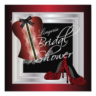 Glamorous Lingerie Bridal Shower | Dark Red 13 Cm X 13 Cm Square Invitation Card