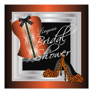 Glamorous Lingerie Bridal Shower | Orange 13 Cm X 13 Cm Square Invitation Card