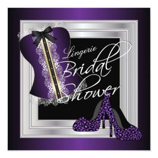 Glamorous Lingerie Bridal Shower | Purple 13 Cm X 13 Cm Square Invitation Card