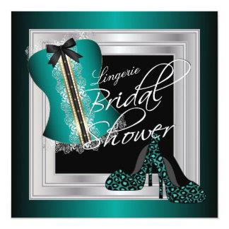 Glamorous Lingerie Bridal Shower | Teal 13 Cm X 13 Cm Square Invitation Card
