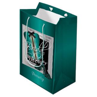 Glamorous Lingerie Bridal Shower | Teal Medium Gift Bag