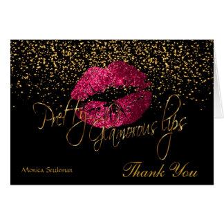 Glamorous Lips Hot Pink Lips on Black Card