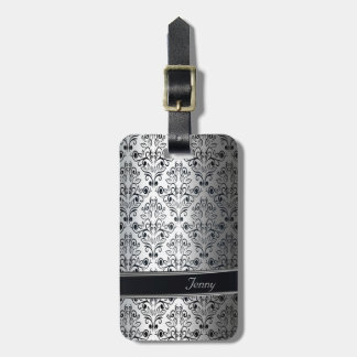 Glamorous luxury silver damask monogram luggage tag