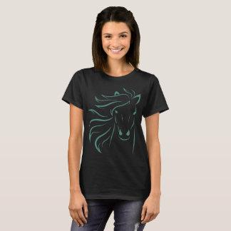 Glamorous Mane Horse Pony Art Drawing Outline Teal T-Shirt