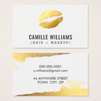 GLAMOROUS MINIMALIST faux gold kiss lips lipstick Business Card