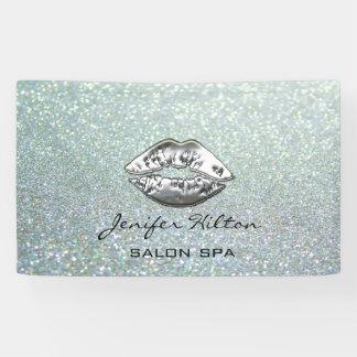 Glamorous modern chic glittery silver lips