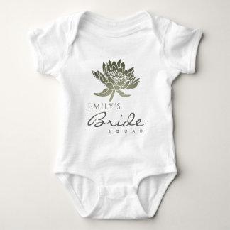 GLAMOROUS PALE BLUE SILVER BRIDE SQUAD MONOGRAM BABY BODYSUIT