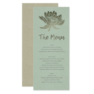 GLAMOROUS PALE BLUE SILVER  LOTUS FLORAL MENU CARD
