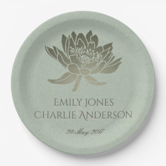 GLAMOROUS PALE BLUE SILVER LOTUS FLORAL MONOGRAM PAPER PLATE