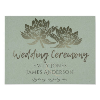GLAMOROUS PALE BLUE SILVER LOTUS FLORAL  WEDDING POSTER