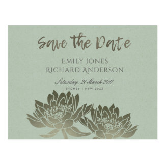 GLAMOROUS PALE BLUE SILVER LOTUS SAVE THE DATE POSTCARD