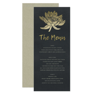 GLAMOROUS PALE GOLD BLUE BLACK LOTUS FLORAL MENU CARD