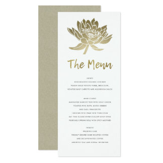 GLAMOROUS PALE GOLD WHITE KRAFT LOTUS FLORAL MENU CARD