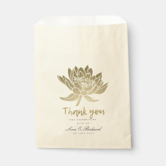 GLAMOROUS PALE GOLD WHITE LOTUS FLORAL WEDDING FAVOUR BAG