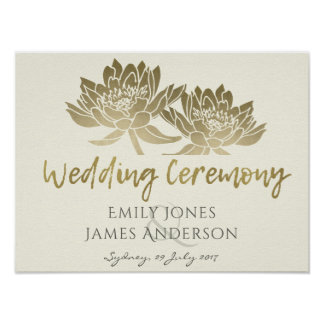 GLAMOROUS PALE GOLD WHITE LOTUS FLORAL  WEDDING POSTER