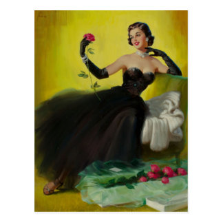 Glamorous pin UP with Roses Postcard