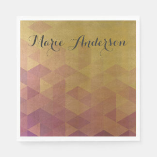 GLAMOROUS PINK GOLD FAUX TRIANGULAR PATTERN DISPOSABLE NAPKIN