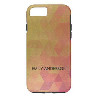 GLAMOROUS PINK GOLD FAUX TRIANGULAR PATTERN iPhone 8/7 CASE