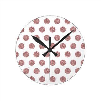 Glamorous Pink Poka Dots Wall Clock