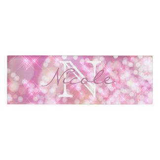 Glamorous Pink Sparkles Monogram Name Tag