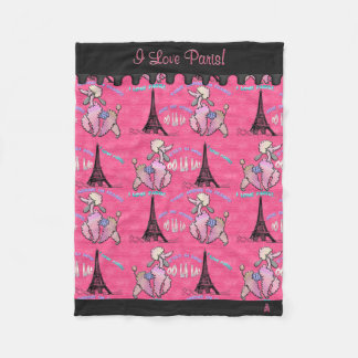 Glamorous Poodle in Paris on Pink (Personalized) Fleece Blanket
