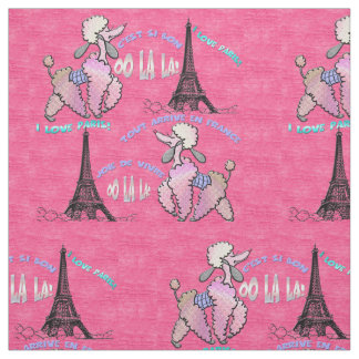 Glamorous Poodle in Paris on Strawberry Pink Fabric