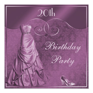 Glamorous Purple Ball Gown 20th Birthday Party 13 Cm X 13 Cm Square Invitation Card
