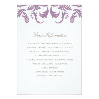 Glamorous Purple Damask Wedding Insert 11 Cm X 16 Cm Invitation Card