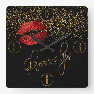 Glamorous Red Lips and Gold Confetti Wall Clocks