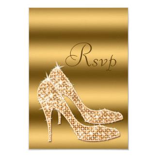 Glamorous RSVP Gold Stilettos 9 Cm X 13 Cm Invitation Card