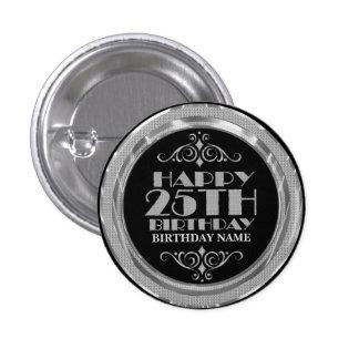 Glamorous Silver Glitter Happy 25th Birthday 3 Cm Round Badge