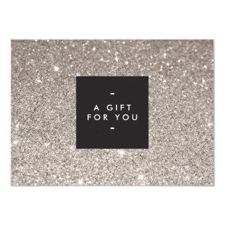 Glamorous Silver Glitter Modern Beauty Gift Card 11 Cm X 16 Cm Invitation Card
