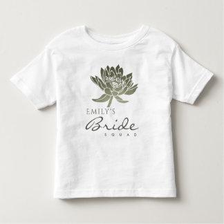 GLAMOROUS SILVER LOTUS BRIDE SQUAD MONOGRAM TODDLER T-Shirt