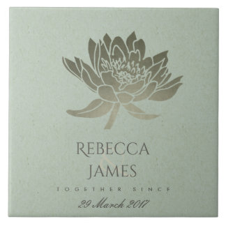 GLAMOROUS SKY BLUE SILVER LOTUS SAVE THE DATE GIFT CERAMIC TILE