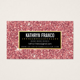 GLAMOROUS SPARKLE cute stylish gold pink glitter Business Card