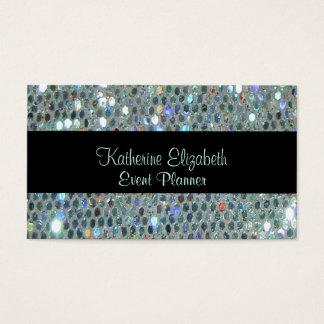 Glamorous Sparkly Glittery Glitzy Silver Bling Business Card