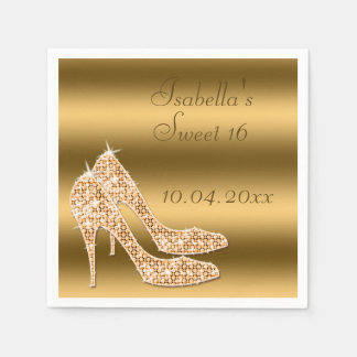 Glamorous Sweet 16 Gold Stilettos Napkins Paper Napkin