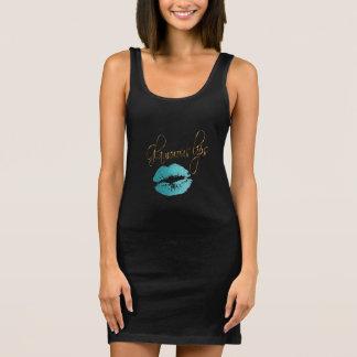 Glamorous Teal Glitter Lips Sleeveless Dress