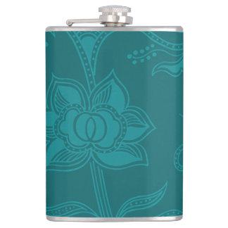 Glamorous Vintage Floral Elegant Teal Turquoise Hip Flask