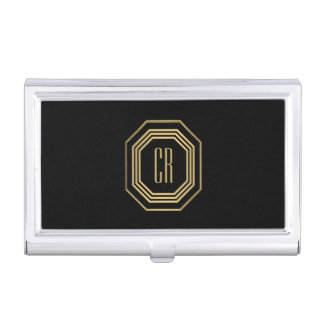 Glamorous Vintage Gold Art Deco Initials Monogram Business Card Holder