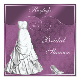 Glamorous Wedding Gown Purple Bridal Shower 13 Cm X 13 Cm Square Invitation Card
