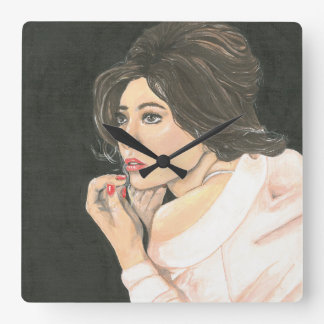 Glamorous woman with Lipstick Square Clock