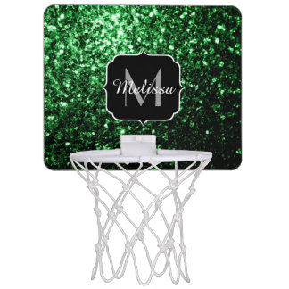 Glamour Dark Green glitter sparkles Monogram Mini Basketball Hoop